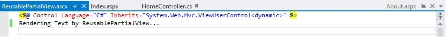 Code for Partial View in ASP.NET MVC