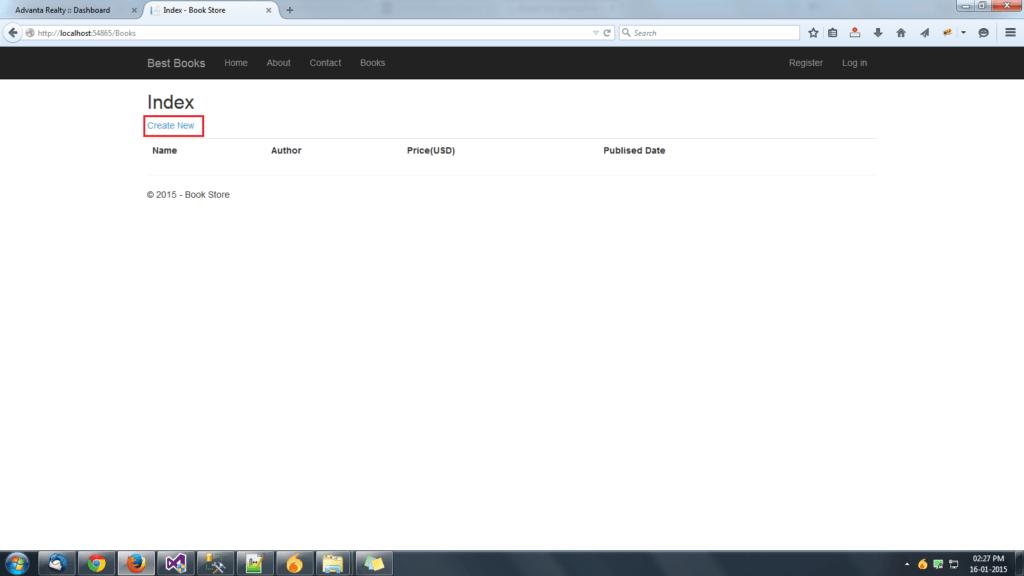 MVC App Index Page