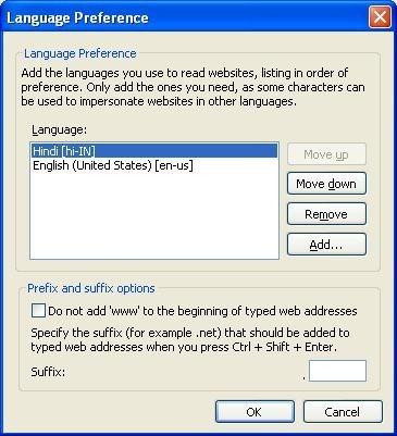 Change browser language preference