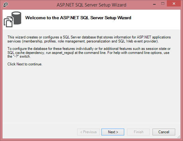ASP.NET SQL Server Setup Wizard