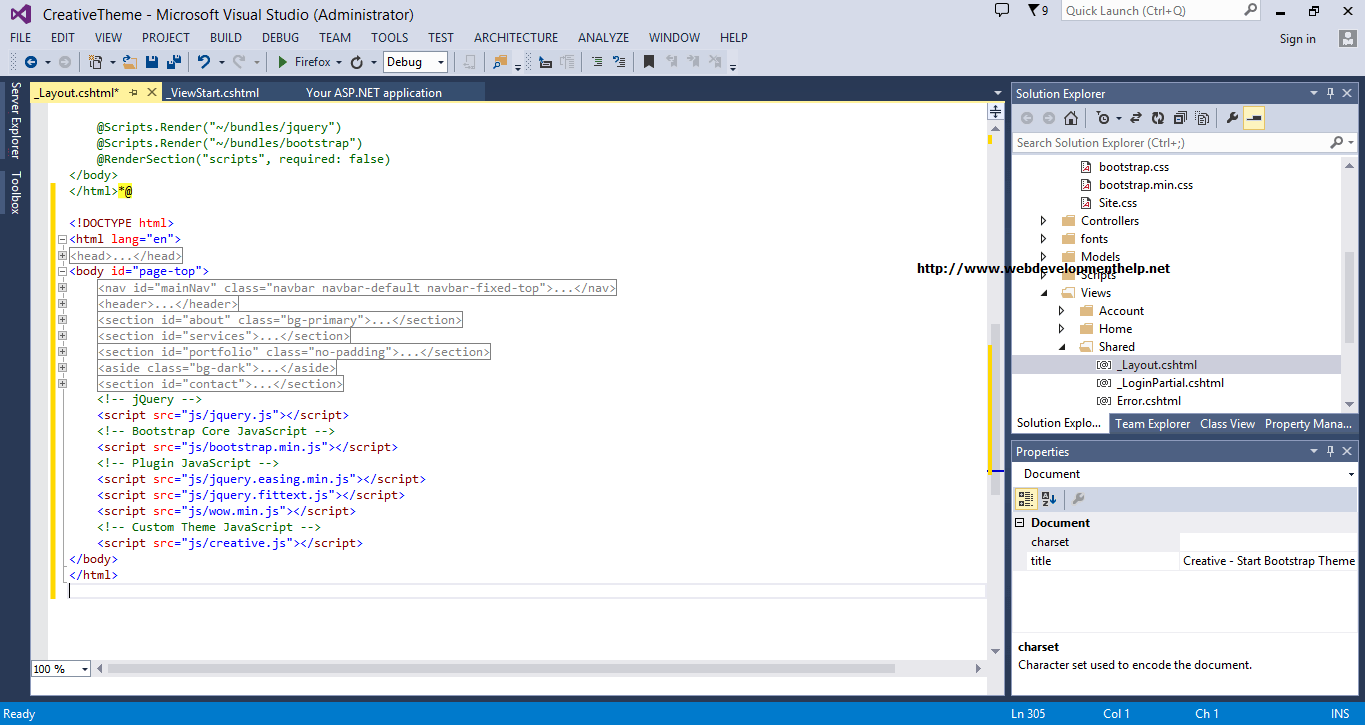 Layout in Visual Studio 2013