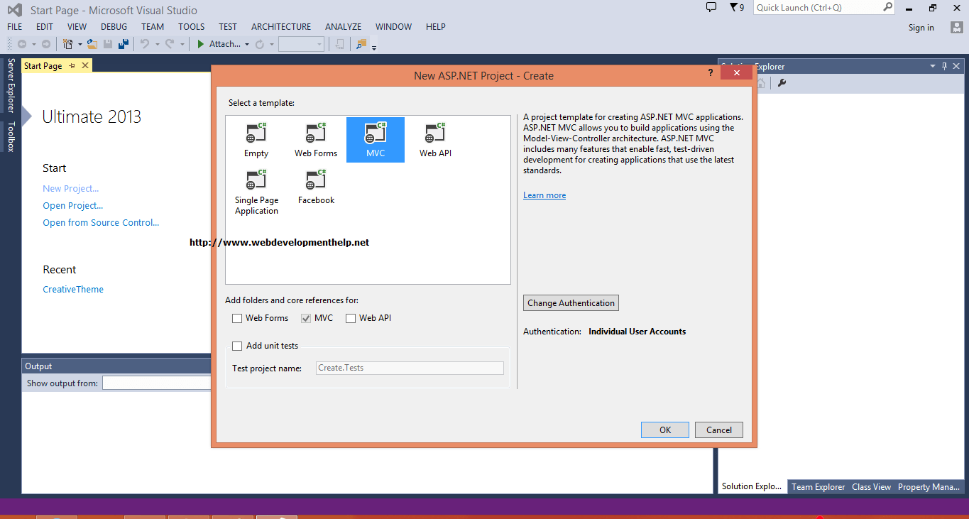 ASP.NET MVC in Visual Studio 2013