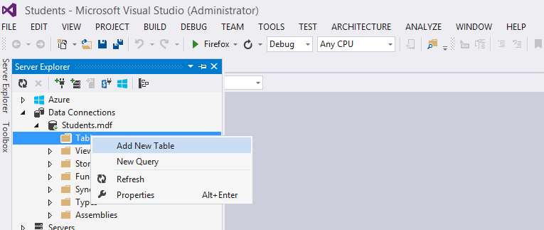 Create Db in Visual Studio 2013