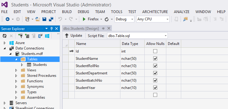 Database Table in Visual Studio 2013