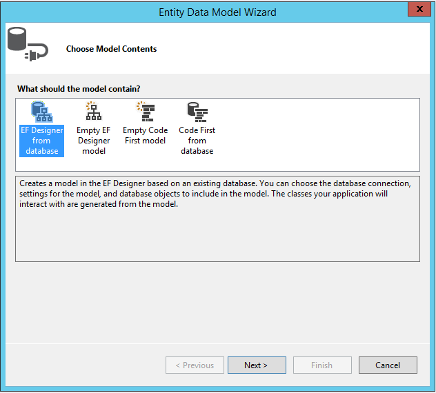 EDM Wizard in Visual Studio 2013