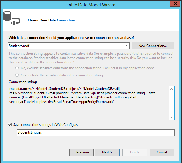 Connection String in Visual Studio 2013