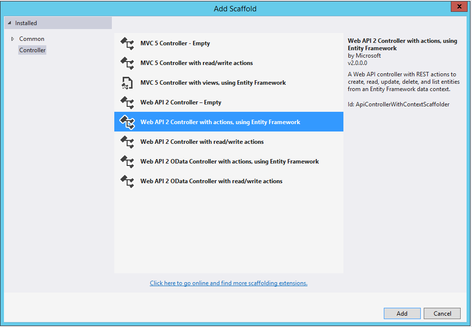 Web API 2 Controller using Entity Framework