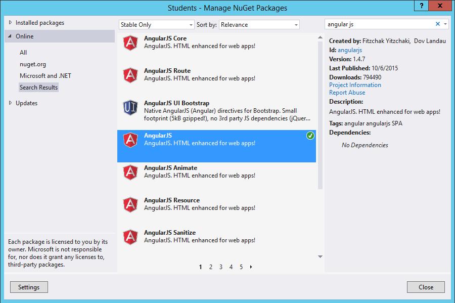 AngularJS Nuget Package in Visual Studio 2013