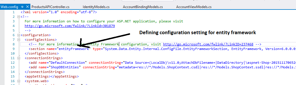 web.config for Entity Framework