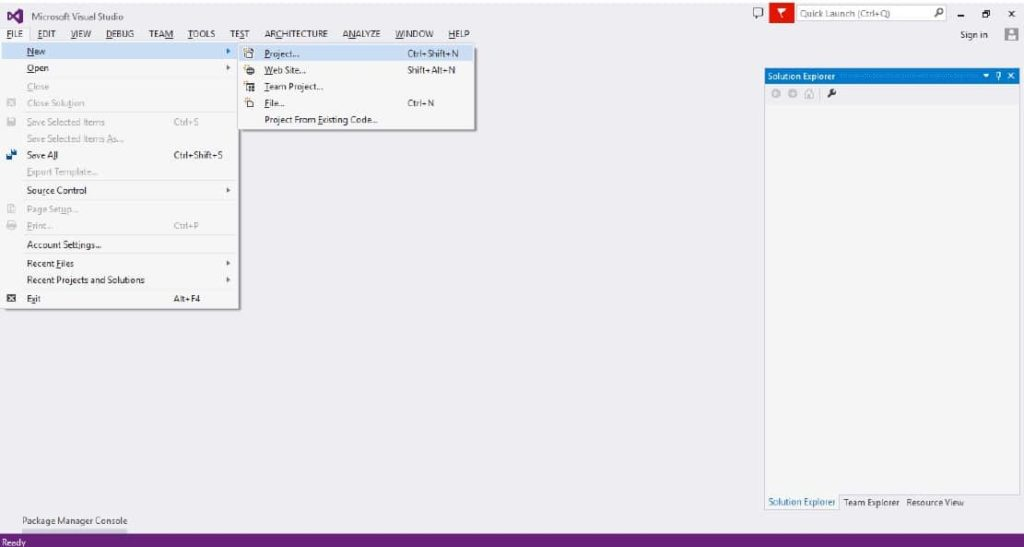 Visual Studio 2015 Application