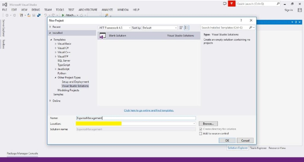 Microsoft Visual Studio 2015 Solution