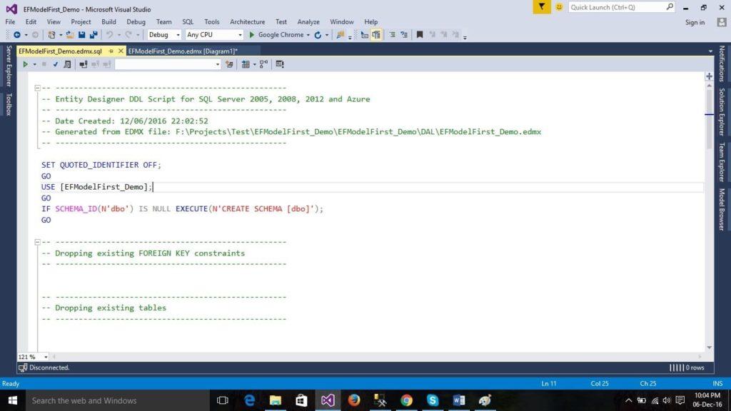 EF Designer DDL Script