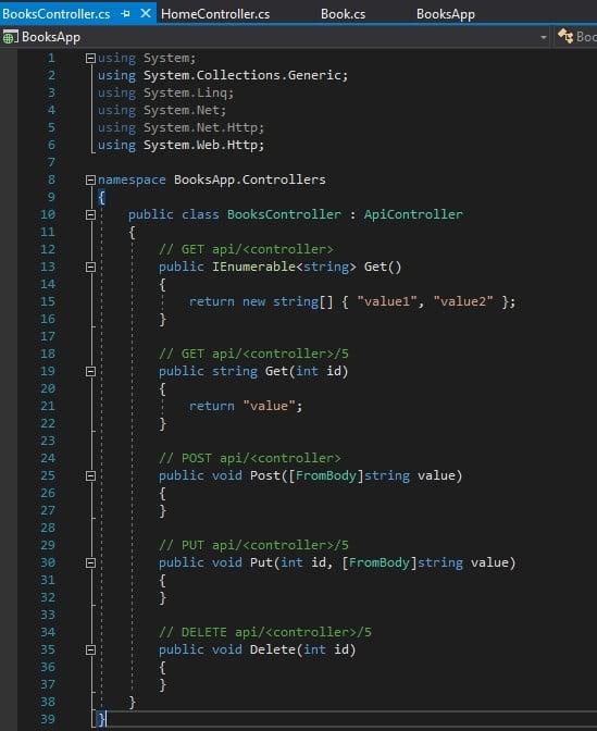 BooksController as Web API Controller
