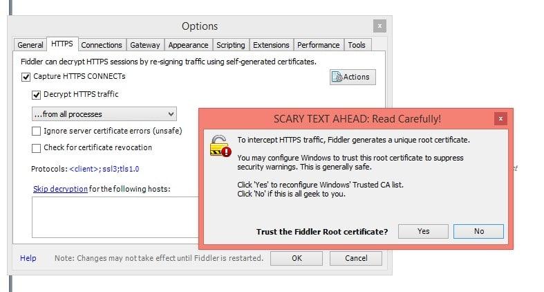 Fiddler as Decrypt HTTP Traffic Tool
