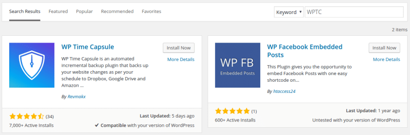 Install WP Time Capsule
