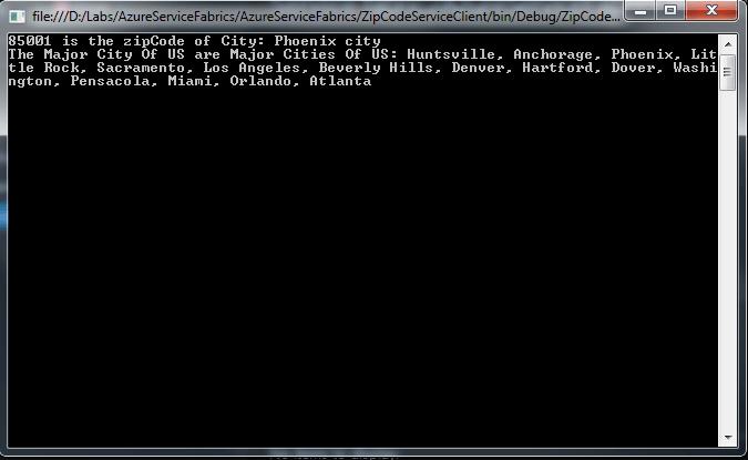Azure Service Fabric Client Output