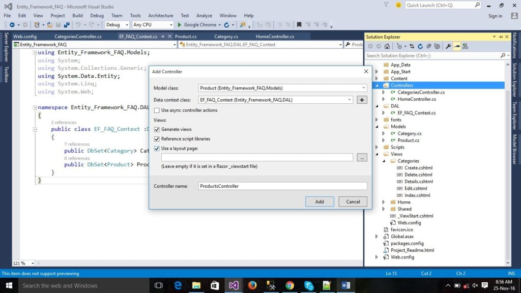 MVC5 Controller with Entity Framework