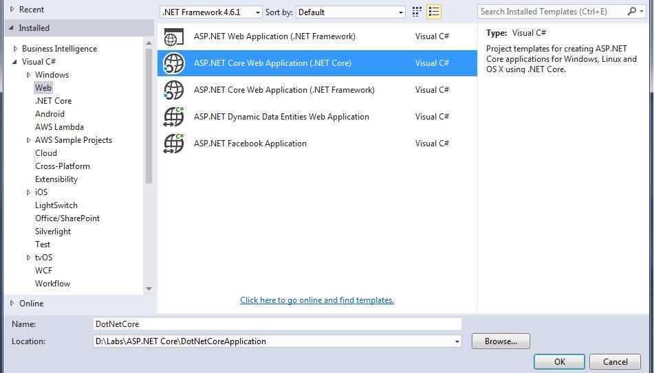 Visual Studio 2015 New Project